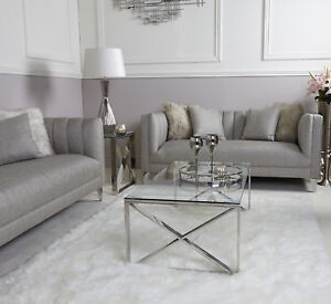 Details About Zenn Contemporary Stainless Steel Clear Glass Lounge Living Room Coffee Table