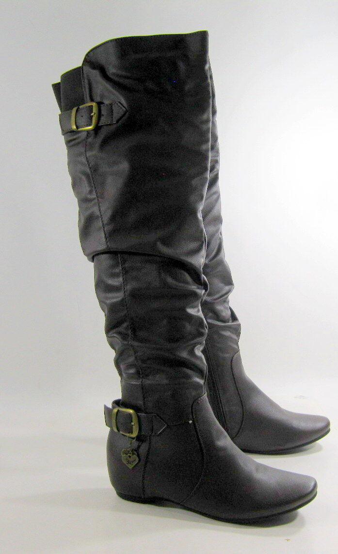 New Dark Brown 1.5 Hidden Wedge Heel Round Toe Sexy Over Knee Boot Size 9