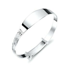 925-Sterling-Silver-Expandable-Child-039-s-Baby-039-s-Christening-ID-Bangle-Bracelet