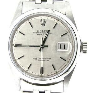 4381c359ab80 Detalles de Rolex Datejust Hombre Acero Inoxidable Jubilee Pulsera Plata  Lino Esfera Reloj
