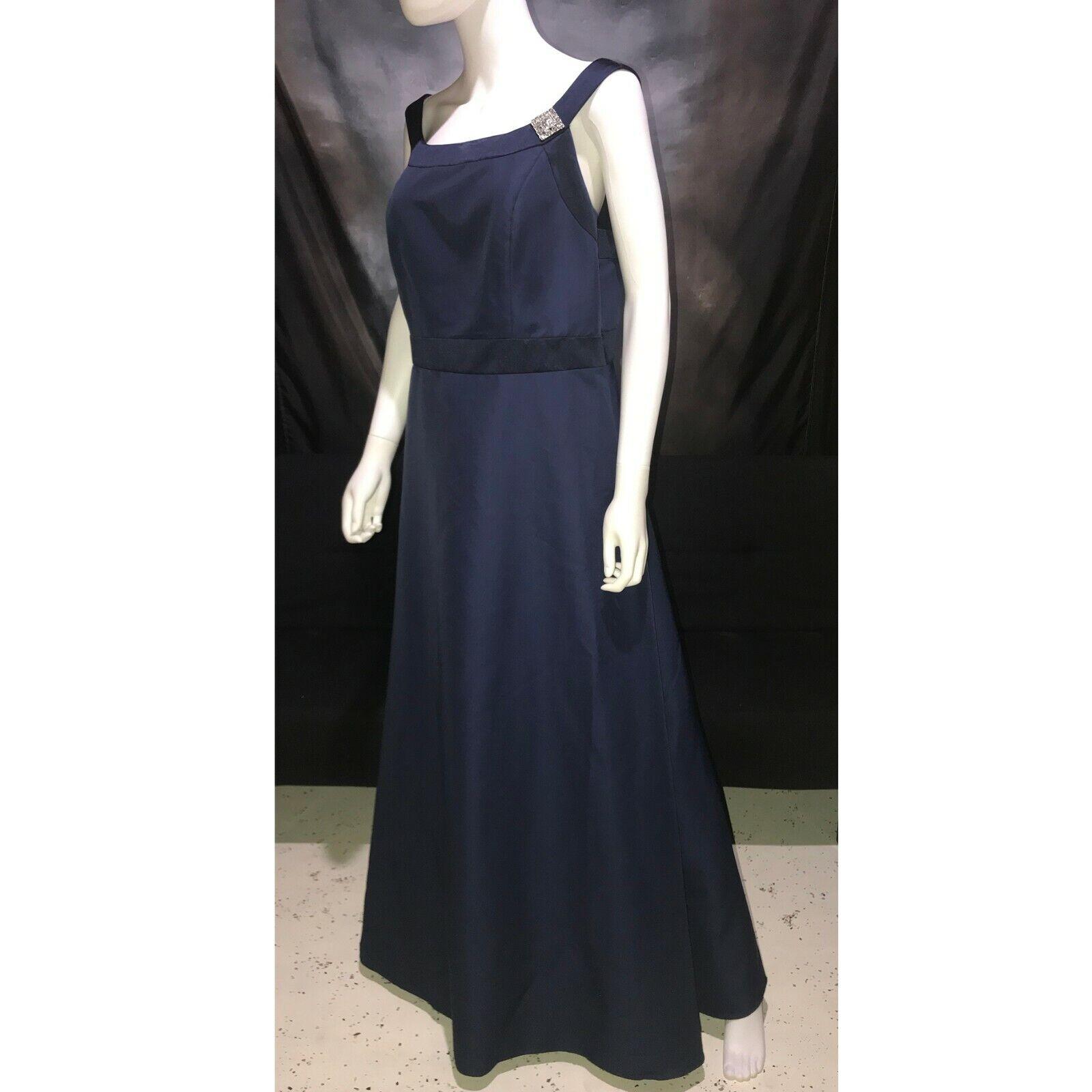 DAVID'S BRIDAL Navy Satin Full Formal Gown Prom Dress Plus Sz 16 #81457AC