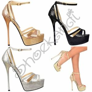 4826a4714b7 Details about Womens Strappy Peep Toe Glitter Stiletto High Heel Party  Shoes Gold Silver Black