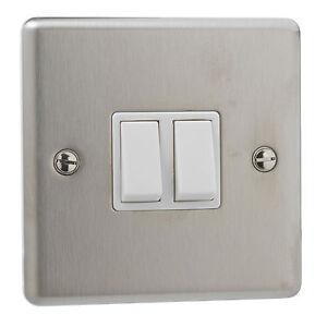 6X-general-britanico-De-Acero-Inoxidable-10A-doble-2-Gang-Interruptor-De-Placa-de-Luz-de-2-vias