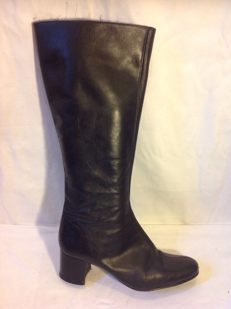 Ladies Black Knee High Leather Boots Size 6