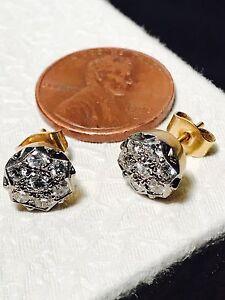 Vintage-18K-Yellow-Gold-60TCW-Diamond-Cluster-Post-Earrings
