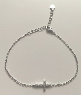Sterling Silver Stamped Cz Cross Bracelet Boxed Bridesmaid First Communion Gift