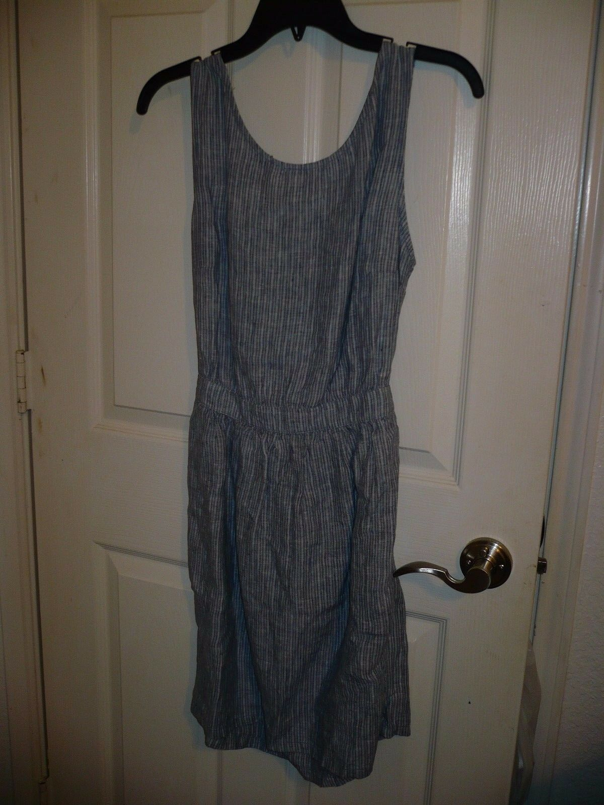 Women's MNG Casual Sleeveless Back Out  Linen Dress Blue Size 4 NEW $75