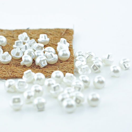 White Pack of 50-12mm Buttons Pearl Sewing Diy Craft Embellishment Cream