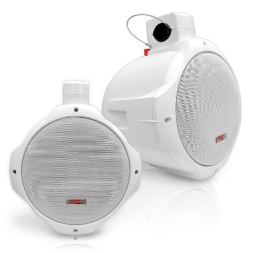 Pair New Pyle PLMRW85 8/'/' 300 Watt Two-Way White Wake Board Marine Boat Speakers