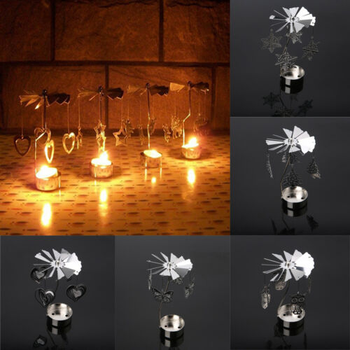 UK Spinning Rotary Metal Carousel Tea Light Candle Holder Stand Light Xmas Gift