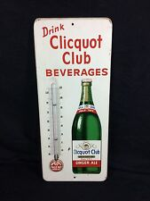 Clicquot Club Soda Fountain Sign Thermometer Tin Beverages Vintage Works!