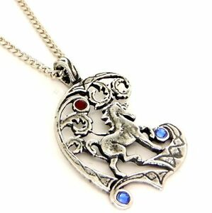 Fire ice fantasy unicorn amulet pendant necklace pewter blue red image is loading fire amp ice fantasy unicorn amulet pendant necklace mozeypictures Gallery