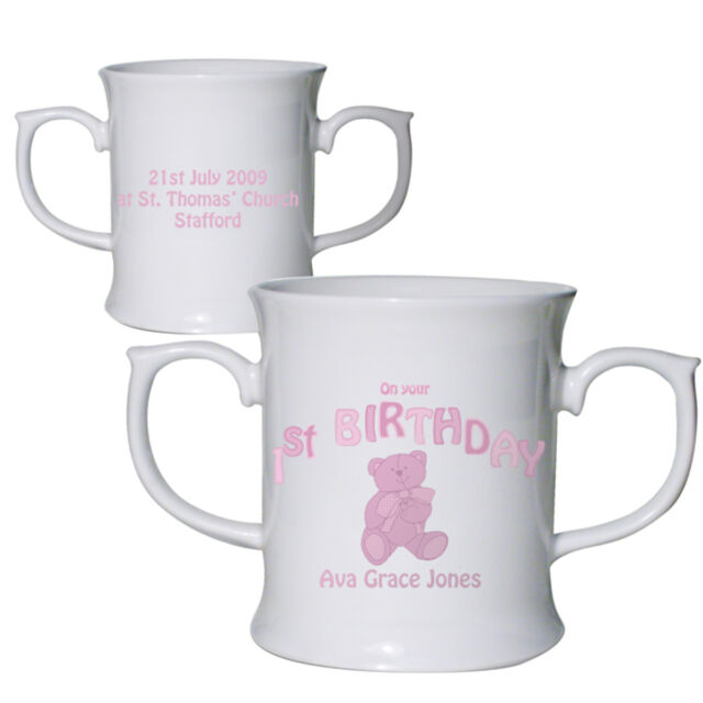 Personalised Baby Gifts Pink Teddy Mug
