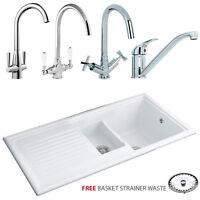 Reginox 1.5 Bowl White Reversible Ceramic Kitchen Sink & Tap Rl301cw Modern