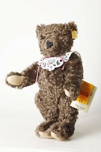 Steiff-Classic-Teddy-Bear-Made-From-Mohair-Dark-Brown-with-Button-U-Flag-13in