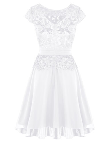 Elegant Women Chiffon Lace Short Dress Prom Cocktail Patry Bridesmaid Wedding