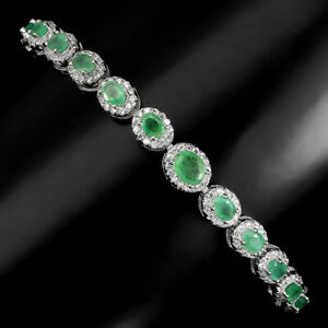 Unheated Oval Emerald 5x4mm Cz 14K White Gold Plate 925 Sterling Silver Bracelet
