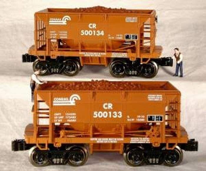 RMT/READY MADE TRAINS ORE CAR w/LOAD CONRAIL  2/PK. O GAUGE