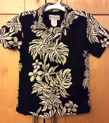 Bishop St Apparel Toddler Boy's Black & White Floral Hawaiian Rayon Surf Shirt 6