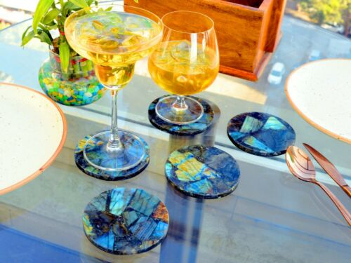 Round Multi Labradorite coaster set labradorite drink Handmade Tea coaster stone