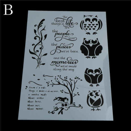 car owl layering stencils for walls painting scrapbooking stamping MW
