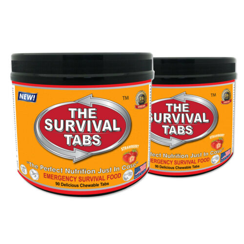 2 x 90 Tabs Strawberry Nutrition Replacement Food Gluten Free Survival Tabs 180