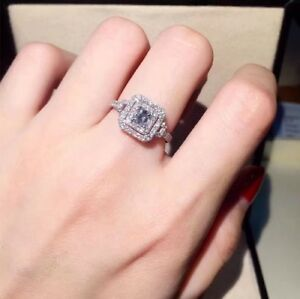cb20a4464e3e1 Details about 1.5CT WOMENS DIAMOND ENGAGEMENT HALO RING PRINCESS CUT WHITE  GOLD OVER
