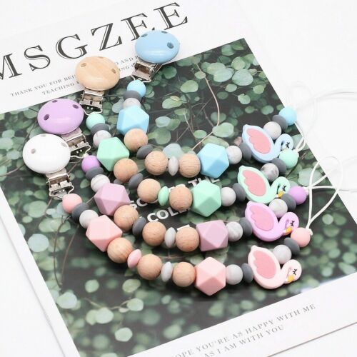 Cute Flamingo Silicone Beads Wood Dummy Soother Chain Holder Baby Pacifier Clips