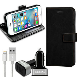 Rich-Leather-Wallet-Flip-Case-For-Various-Phone-amp-Silver-3-Port-Cable-Car-Charger