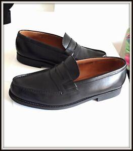 Chaussures mocassins Sylvestre Vincent 42 weston cuir noir shoes homme vintage