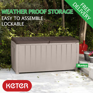 Keter Novel Outdoor Storage Box 340l Cushions Tools Garden Pool