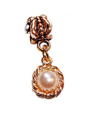 Beige Pearl June Birthstone Gold Tone Dangle Bead for European Charm Bracelets