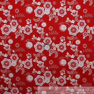 BonEful Fabric FQ Cotton Quilt Red Rose Sm Flower Dot Swirl Leaf Stripe