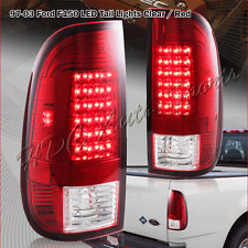 For 1999-2007 Ford F250 Super Duty Styleside Red/Clear Lens LED Tail Lights Lamp