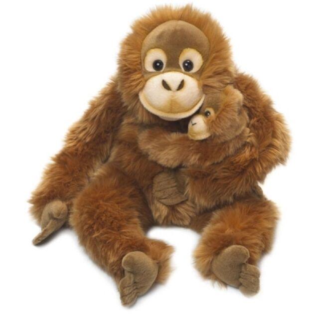 NEU WWF XL Plüschtier Orang Utan Mama mit Baby Kuscheltier Plüsch  Herrenchenaffe