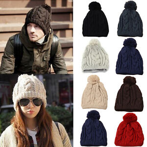 c913711168c Fashion Men Women Winter Warm Knit Ski Hat Crochet Beanie Ball Wool ...