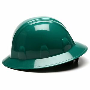 Pyramex Hard Hat Full Brim Dark Green with 4 Point Ratchet Suspension