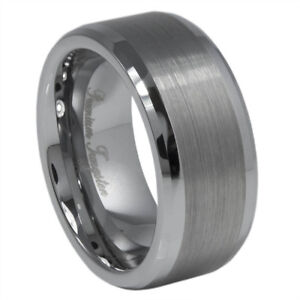 Image Is Loading 9mm Tungsten Carbide Ring Wedding Band Natural Color