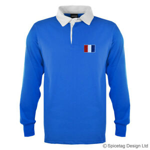 60e496e3af5 Retro France Flag Rugby Jersey 70s Polo Vintage Old Style Sweater ...