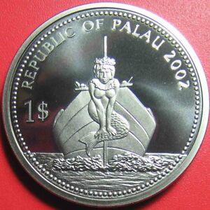 2002-PALAU-1-PROOF-GLITTERING-FISH-MERMAID-SHIP-MARINE-SEA-LIFE-no-silver
