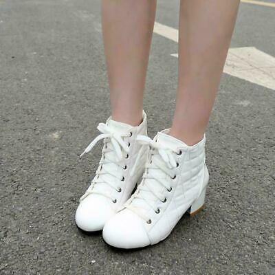 Womens Sz35-43 Ankle Boots Lace Up Patent leather Chunky Block Heel Shoes
