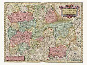 Alte-Muenster-Deutschland-Landkarte-Blaeu-ca-1655-Papier-Leinwand