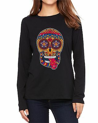 Velocitee Ladies Vest Colourful Holiday Sugar Skull W19210