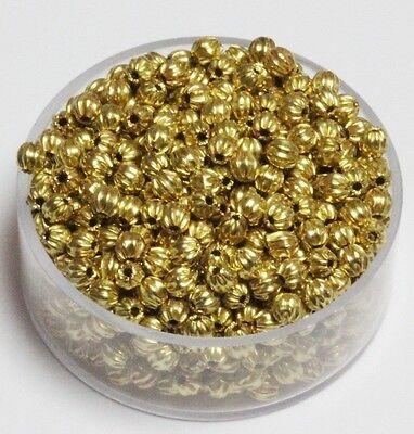 4 MM Vintage Brass Bi-Cone Corrugated Hollow Beads  Pkg USA 50 p