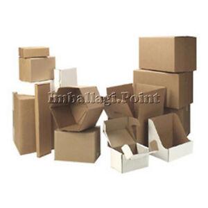10-Stueck-Boxen-von-Karton-Verpackung-Versand-25x20x15cm-gelocht-Havanna