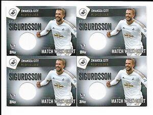 Topps-Premier-Club-2016-4-x-Swansea-Gylfi-Sigurdsson-Match-Worn-Shirts-Cards