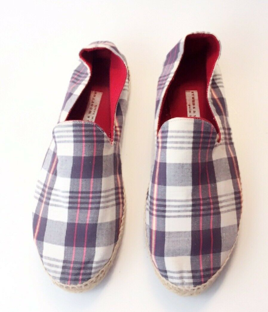 250.00 Stubbs and Wootton Plaid Espadrille Canvas Flat Canvas Espadrille Shoes Euro 40 US 9 dfa145