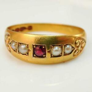 Antique-Victorian-1892-18ct-Gold-Ruby-amp-Pearl-Ring