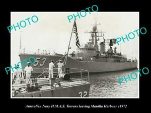 OLD-POSTCARD-SIZE-AUSTRALIAN-NAVY-PHOTO-OF-THE-HMAS-TORRENS-SHIP-c1972