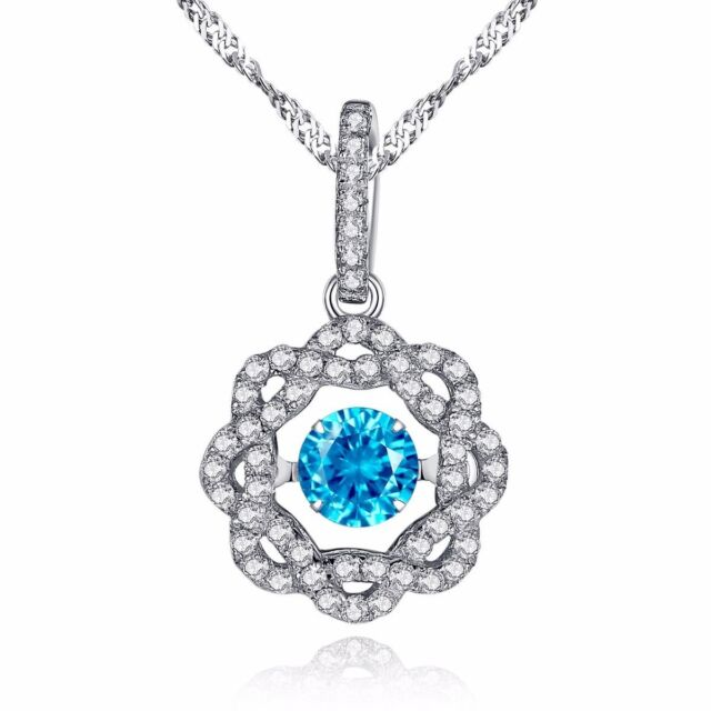 "Sterling Silver 0.5CT Created Blue Topaz Dancing Necklace Pendant with 18"" Chain"